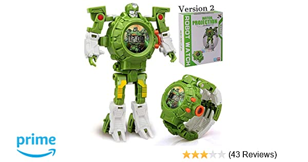 Amazon Gomamo Transform Rescue Robots Toys For 3 Year Old Boys In 1 Kids Multi Function Projection Digital Wristwatch Games