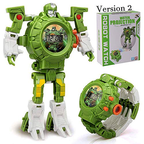 gomamo Transform Watch Toys, 3 in 1 Projection Rescue Robot Watch for 3 4 5+ Year Old Boys and Girls (Green - Version 2)
