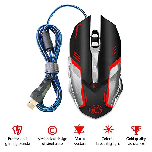 Mictech V8 Mouse 4000DPI led optical mouse 6D USB Wired Professional Gaming Mouse for PC Laptop Upgrade V6 (Upgrade Notebook)
