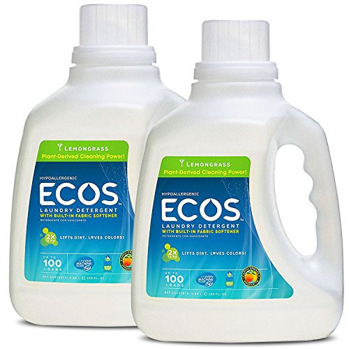 Earth Friendly Products ECOS 2X Liquid Laundry Detergent with Built in Softener, Lemongrass, 200 Loads, 2 x 100 oz Bottles (Best Laundry Detergent For Sweat Stains)