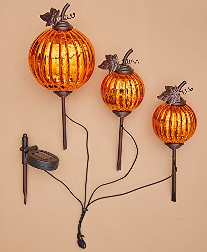 The Lakeside Collection Set of 3 Solar Harvest Garden Pumpkins - by The Lakeside Collection