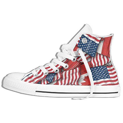 Canada Flag And American Flag Unisex High Top Classic Canvas Shoes Fashion Sneaker for $<!--$57.20-->