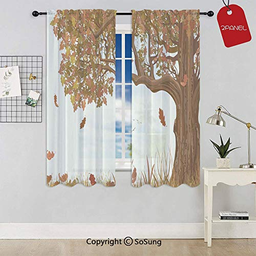 Autumn Season Fall Shady Deciduous Oak Leaves in Park Countryside Artwork Rod Pocket Sheer Voile Window Curtain Panels for Kids Room,Kitchen,Living Room & Bedroom,2 Panels,Each 52x45 Inch,Umber Redwo
