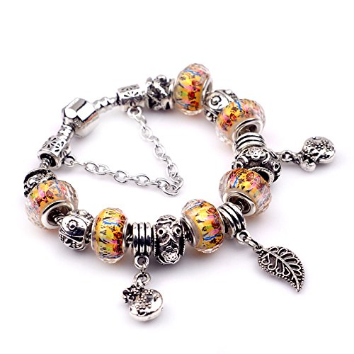 [Salome Idea Silver Tone Crystal Bead Glass Charm Bracelets (PSL-0017)] (Original Cute Costumes Ideas For Women)