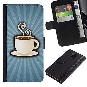 KLONGSHOP / Tirón de la caja Cartera de cuero con ranuras para tarjetas - Coffee Cup Mug Steaming Drink Caffeine Art - Samsung Galaxy Note 4 SM-N910