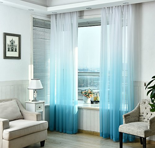 WPKIRA Home Fashion Romatic Rod Pocket Top Dreamlike Gradient Color Tulle Window Treatments Voile Sheer Perspective Window Curtains Drapes For Living Room 1 Panel W39 x L84 inch