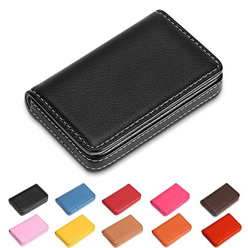 Business Card Holder Wallet Credit Case Holders, Multipurpose & Luxury PU Leather Business Name Card Holder Credit Card Case/Holder / Cards Case for Women & Men, Holds 25 Business Cards (Black-1)