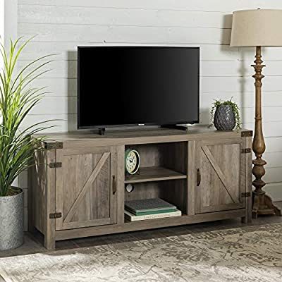 New 58 Inch Wide Barn Door Television Stand in Grey Wash Finish - Fun Farmhouse design High-grade MDF and laminate construction Weight capacity of 250 lbs. - tv-stands, living-room-furniture, living-room - 51ZHd1M%2BnrL. SS400  -
