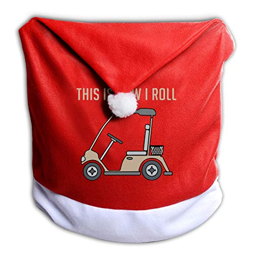 - Alfred Weekjey This is How I Roll Golf Cart Funny Golfers Santa Claus Chair Back Cover for Christmas Dinner Decoration