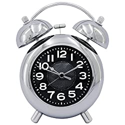 HENSE 4.5'' Retro Vintage Twin Bell Bedroom Table Alarm Clocks Silent Quartz Movement Non Ticking Sweep Second Bedside Desk Alarm Clock with Nightlight and Loud Alarm HA02 (Silver,White Numerals)