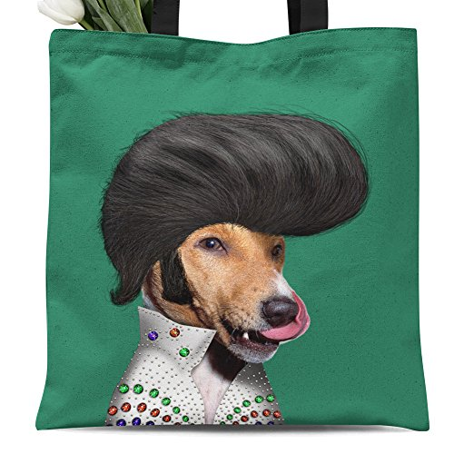 Beighton Original works Ladies canvas tote bag reusable shopping bag zipper handbag Animal Print Cute Design pet imitation show. Individual Zippered Storage Pouch (Elvis Presley)