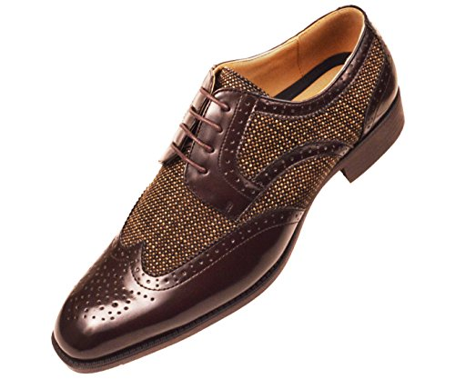 Bolano Heren Visgraat & Twill Wingtip Brogue Oxford Dress Shoes Stijlen Keller, Thoreau Brown