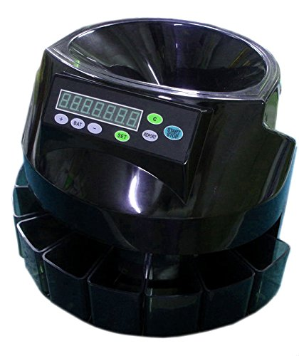 Easycount EC50 Electronic US Coins Sorter/Counter, Grand total of all coins is displayed, 250 coins/min, 110 VAC,with 6 receiver Tray