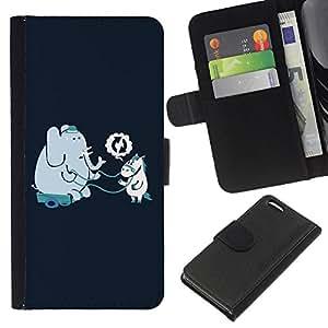KLONGSHOP // Tirón de la caja Cartera de cuero con ranuras para tarjetas - Divertido Elefante y amigos del caballo - Apple Iphone 5C //