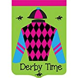 Derby Time Jockey and Horse 18 x 13 Shield Shape Double Applique Small Garden Flag
