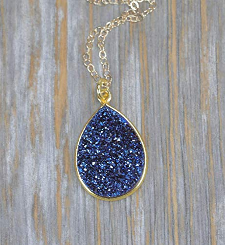 - Large Blue Druzy Pear Pendant Necklace- 14k Gold Filled-18