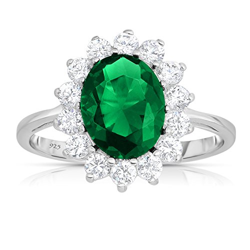 - Unique Royal Jewelry Sterling Silver Rich Green Emerald with White CZ Helo Jacket Princess Diana Kate Middleton Engagement Ring - Size 6