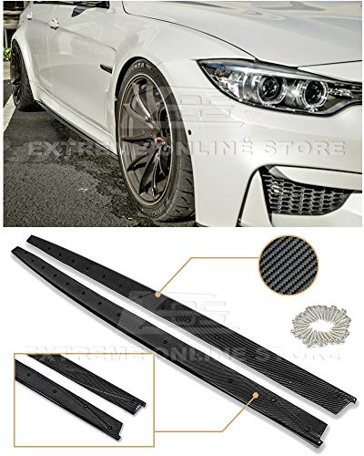 Repalcement for 2014-2018 BMW F80 M3 | EOS M-Performance Style Carbon Fiber Side Skirts Rocker Panels Extension ()