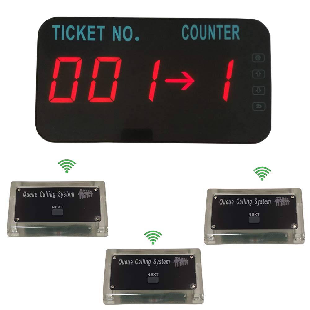 Queue Manage System Take A Number Tickets Number Waitting System Come with English Voice Announce Show Tickets Number & Counter Number (3 Button +1 Display)