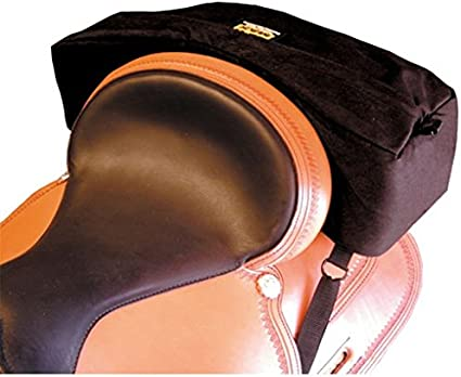 Trailmax Bolsa para borrén trasero con forma falcada - Equipaje para silla vaquera de cowboy - Negro
