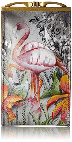 Painted Original Artwork - Anuschka Women's Genuine Leather Eyeglasses Case | Hand Painted Original Artwork | Flamboyant Flamingos