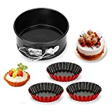 Springform Pan 4 Inch Cake Pan Baking Pans with Removable Bottom for Cheesecakes Pizzas and Quiches, Nonstick Leakproof Baking Supplies Including Egg Tart Mold 3pcs