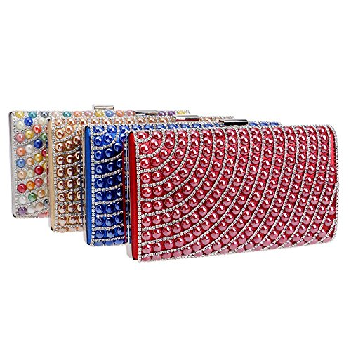 Pearl blue Faux Fashion Clutch Rhinestone Women Evening Bead Cascading Evening Bags Purse TuTu qw7IaW