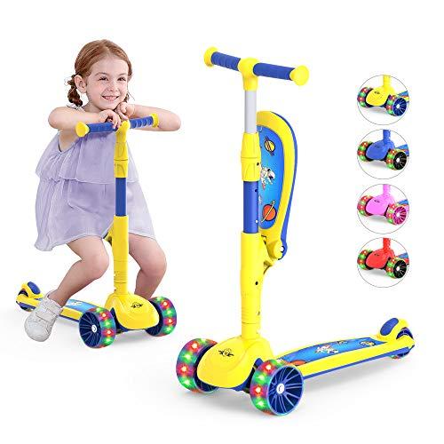 Scooter de 3 ruedas para niños, rueda de poliuretano con luces LED, manillar ajustable para inclinarse hacia la dirección, asiento plegable, paseo para sentarse o pararse con freno para niños pequeños y niñas de 2 a 12 años