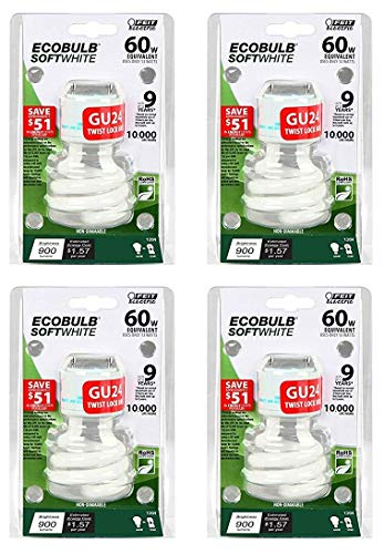 (Feit Electric BPESL13T/GU24 900 Lumen Soft White Mini Twist GU24 CFL, Uses Up To 78% Less Energy, Compact Fluorescent, Average Life Up To 10000 Hours, Pack of 4)