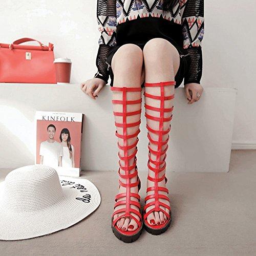 Mee Shoes Damen chunky heels langschaft Reißverschluss Sommerstiefel Rot