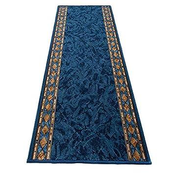 Tapiso Antidérapant Tapis de Couloir Cuisine Entrée Design Moderne Bleu  Marron Losanges Moucheté Poil Court Fin 67 x 50 cm