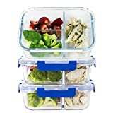 [LIFETIME LIDS] LARGE Premium 3 Sets 3 Compartment Glass Meal Prep Containers 3 Compartment with Snap Locking Lids, BPA-Free, Microwave, Oven, Freezer, Dishwasher Safe (4.5 Cup, 34 Oz, Rectangle)