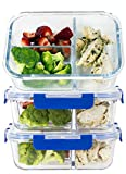 [LIFETIME LIDS] LARGE Premium 3 Sets 3 Compartment Glass Meal Prep Containers 3