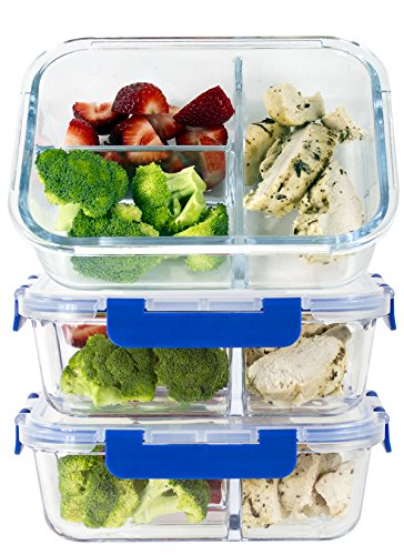 ([LIFETIME LIDS] LARGE Premium 3 Sets 3 Compartment Glass Meal Prep Containers 3 Compartment with Snap Locking Lids, BPA-Free, Microwave, Oven, Freezer, Dishwasher Safe (4.5 Cup, 36 Oz, Rectangle))