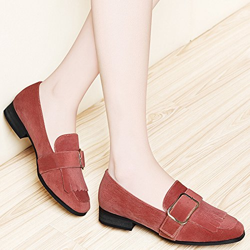 Pink Casual Heel Woman KHSKX Single And New Shoe Low Heel Shoe Single Flat Shoes Lady Spring Tassel acraH6