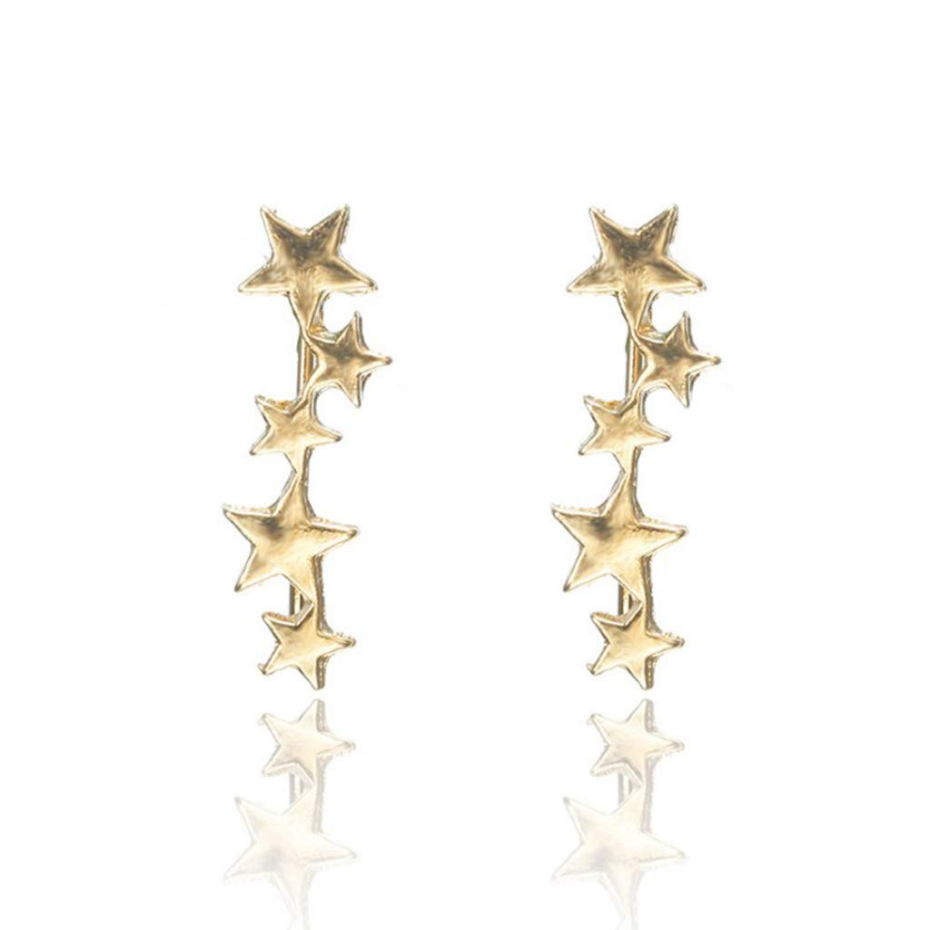 Sameno Fashion Trend Simple Star Earrings Ear Bone Ring Stub Earring Jewelry for Women Girl (Gold)