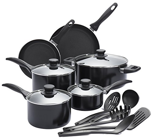 Finnhomy 15 Pieces Super Value Cookware Set All Purpose FDA Approved Hard Double Nonstick Coating PTFE PFOA Free Kitchen Pots Pan Set Professional Home Restaurant Aluminum, (Bakelite Pot Holder)