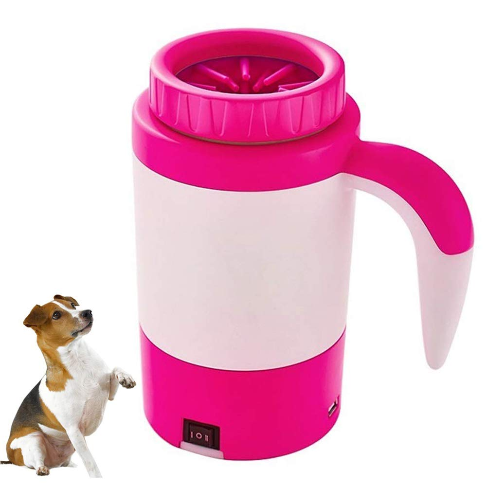Automatic Dog Paw Cleaner,Portable Foot Washing Pet Electric Washer Cup,Pink,18.621.3cm