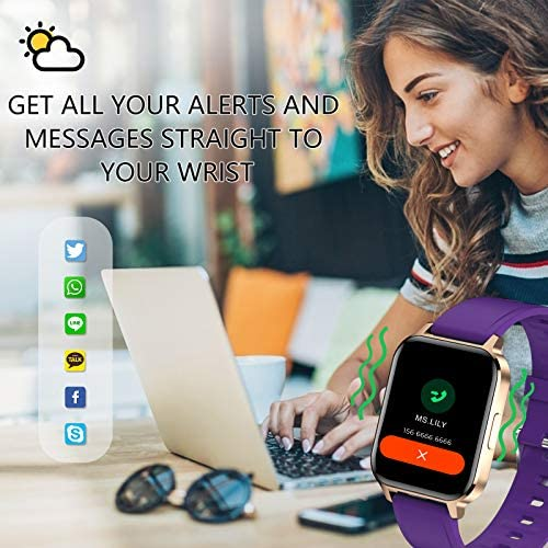 Smart Watch for Android Phones, 1.7 inch Fit Watch with Heart Rate and Sleep Monitor, Activity Tracker with IP68 Waterproof Step Counter Pedometer Smartwatch for Women and Men