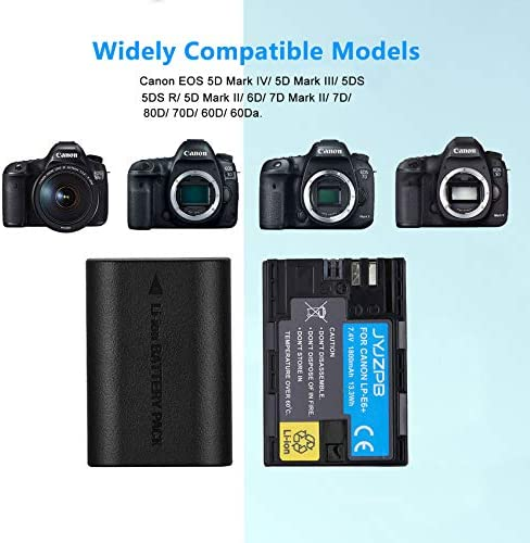 Amazon Com Jyjzpb Lp E6 Lp E6n Battery Charger Case 2 Pack Camera Batteries Compatible With Canon Eos 5d Mark Ii Iii Iv 5ds 5ds R 60d 6d Mark Ii 7d 7d Mark Ii