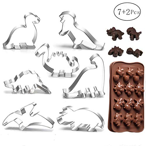 Dinosaur Molds - 7 Pcs Dinosaur Cookie Cutters and 2 Pcs Dinaosaur Chocolate Silicone Mold for Kids' Birthday and Dinosaur Theme Party Supplies