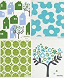 Swedish Dishcloth, Set of 4 Cool Turquoise & Green (GB) Designs