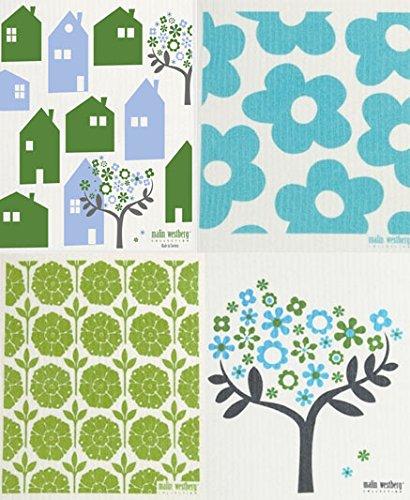 Swedish Dishcloth Turquoise Green Designs