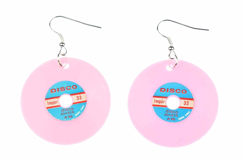 Schallplatte Ohrringe LP Vinyl DJ Musik Miniblings Plattenohrringe XL pink