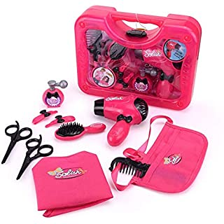 Qukueoy Kids Hairdresser Set Beauty Salon Toys 11 Pieces,Hair Stylist Makeup Kit for Little Girl Pretend Play,Imitation Hair Dryer,Apron,Combs and More