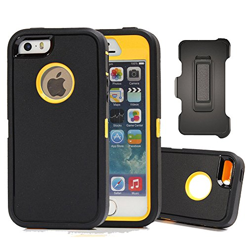 iPhone SE Case, Harsel Defender Heavy Duty Rugged Armor Scratch Resistant Full Body Protective Military w' Belt Clip Built-in Screen Protector Case Cover for iPhone SE/iPhone 5s- Black/Yellow (Best Iphone 5s Contract)