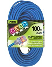 PRIME NS514835 100' 12/3 SJTW Flex High Visibility Extra Heavy Duty Outdoor Extension Cord with Indicator Light, Neon Blue
