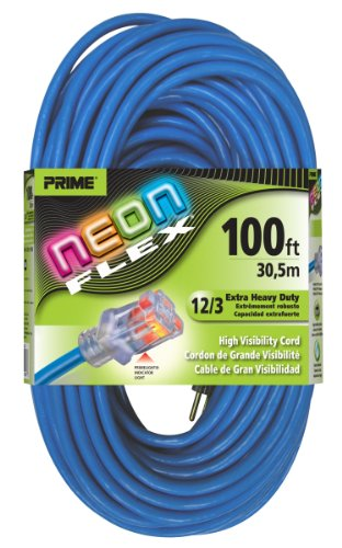 - Prime Wire & Cable NS514835 100-Foot 12/3 SJTW Flex High Visibility Extra Heavy Duty Outdoor Extension Cord with Prime light Indicator Light, Neon Blue