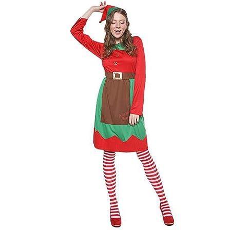 HZH Disfraz de Duende navideño para Mujeres Adultas, incluidos ...