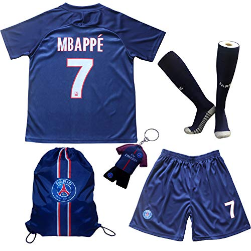 LES TRICOT 2019/2020 Paris Home #7 MBAPPE Football Futbol Soccer Kids Jersey Shorts Socks Set Youth Sizes (Home (New), 5-6 Years)